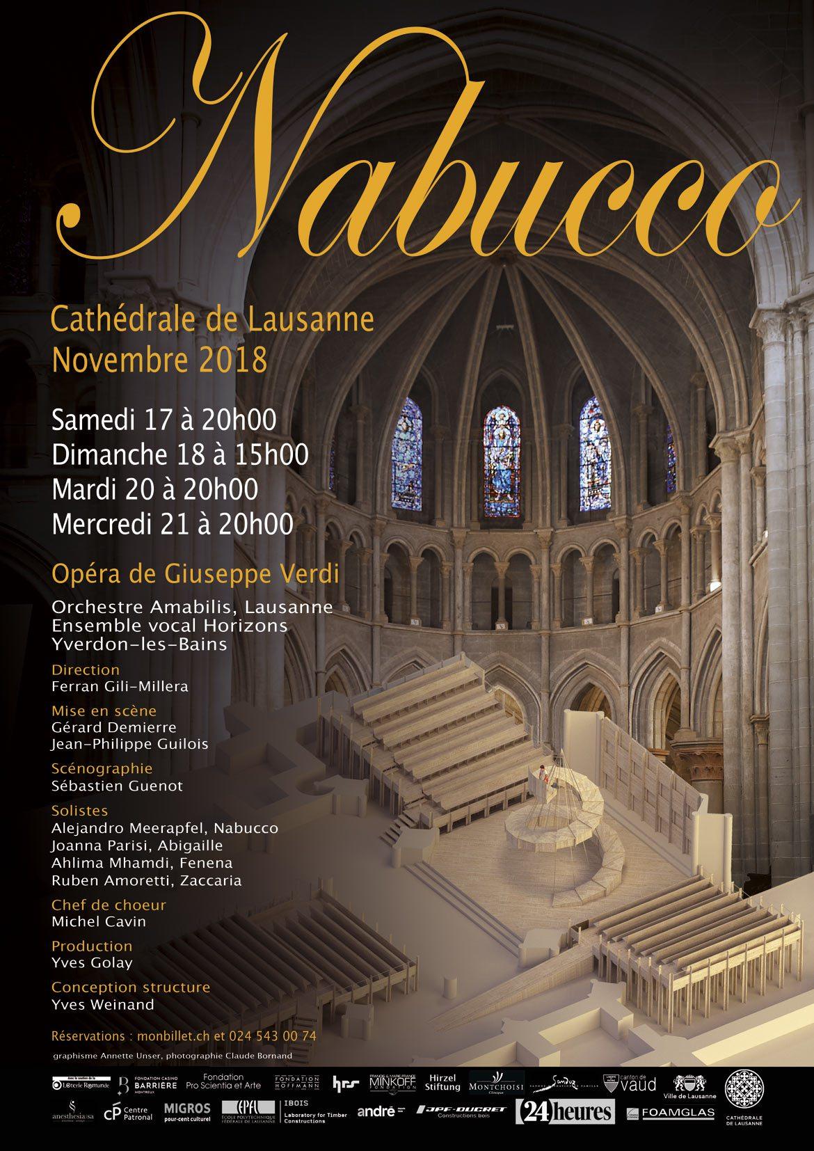 Affiche de Nabucco à la Cathédrale de Lausanne, 2018